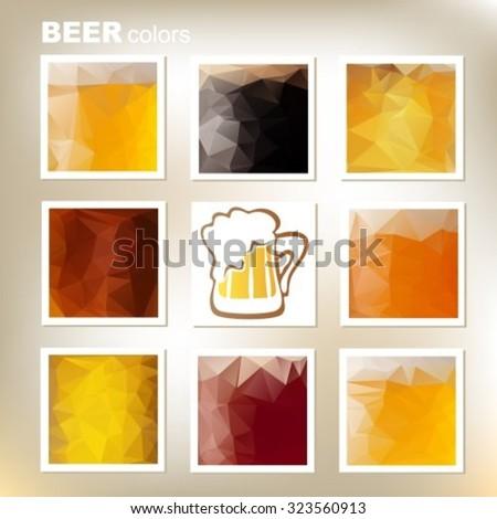 Eight Polygonal Frames Beer Colors Set Stock Vector 323560913 ...