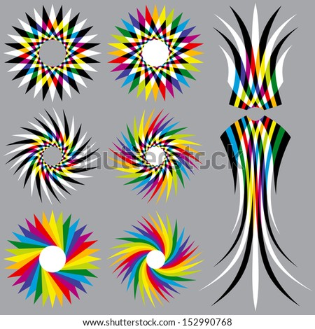 Eight Rainbow Colored Objects - stock vector