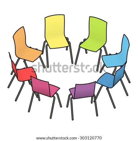 Eight rainbow multicoloured chairs arranged in a circle for group work, or group therapy.  - stock vector