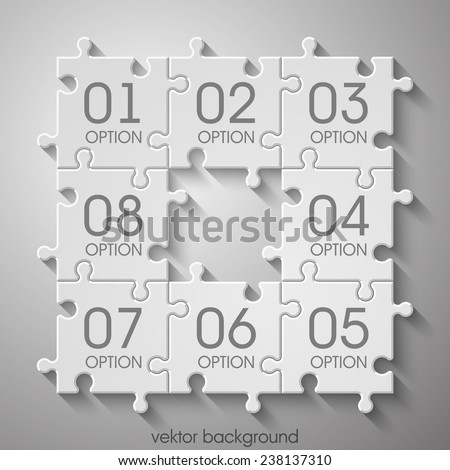 Eight  sided 3d puzzle presentation infographic template with explanatory text field for business statistics - stock vector