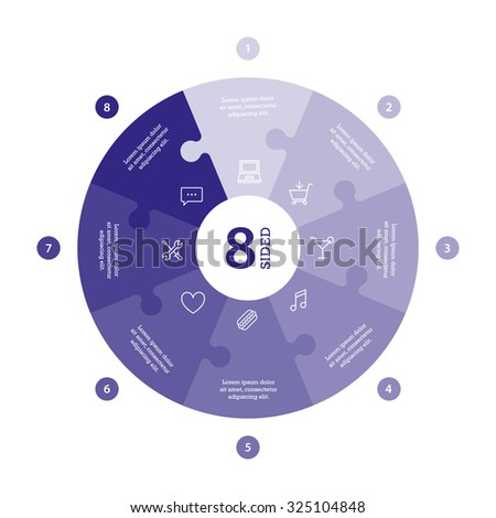 Eight sided flat monocolor puzzle presentation infographic chart. Numbered with icons and explanatory text isolated on white background. Vector graphic template. - stock vector