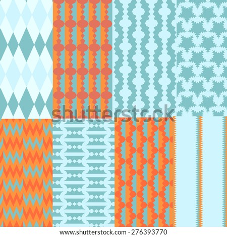 Eight simple patterns, Including Pattern Swatches can be used for wallpaper, pattern fills, web page, background, surface. - stock vector