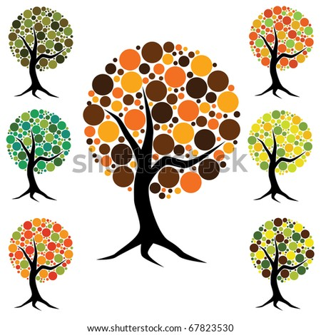 eight trees with colorful dots