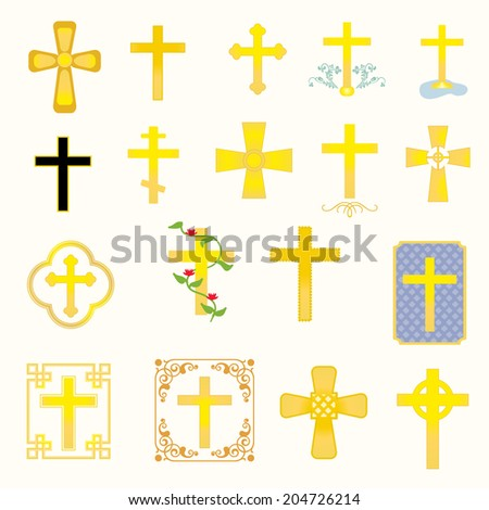 Eighteen crosses- varying in style and type/Crosses - stock vector
