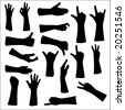 eighteen  hand silhouettes - stock vector