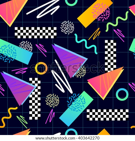 Eighties Seamless Pattern Vector. Classic 1980s seamless grid pattern. Vector illustration. - stock vector