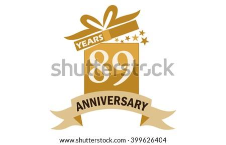 Eighty Nine Years Gift Box Ribbon Anniversary  - stock vector