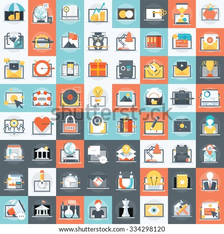 Eighty six various computer related business icon set. - stock vector
