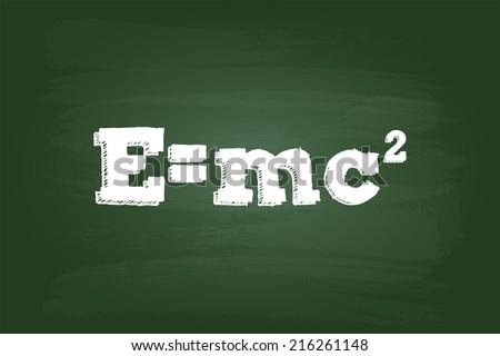 Einstein Theory Of Relativity Formula On Green Board - stock vector