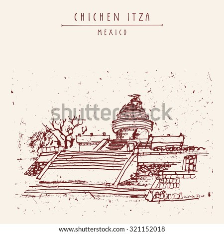El Caracol or The Observatory Toltec Maya Ruins. Chichen Itza, Yukatan, Mexico. Hand drawn postcard in vector, retro style - stock vector