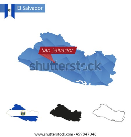 El Salvador blue Low Poly map with capital San Salvador, versions with flag, black and outline. Vector Illustration. - stock vector