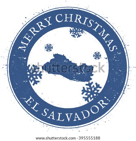 El Salvador map. Vintage Merry Christmas El Salvador Stamp. Stylised rubber stamp with map of El Salvador and Merry Christmas text, vector illustration. - stock vector