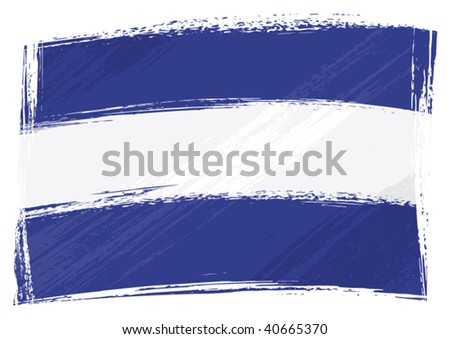El Salvador national flag created in grunge style - stock vector