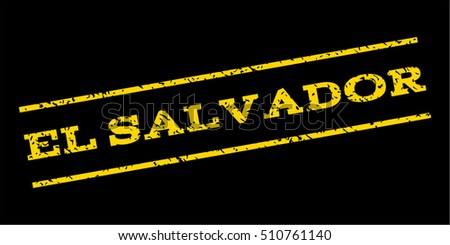 El Salvador watermark stamp. Text tag between parallel lines with grunge design style. Rubber seal stamp with dirty texture. Vector yellow color ink imprint on a blue background.