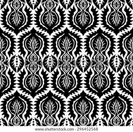 Elaborate luxury black and white seamless pattern. Damask background, retro floral design. Ethnic flower and leaves elements. For fashion fabric, greeting, cover, postcard, gift paper. Vintage look - stock vector