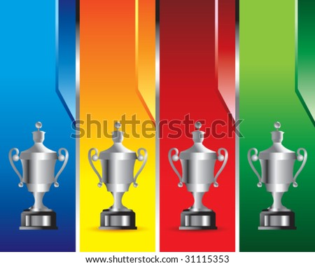 elaborate trophy on multicolored banners
