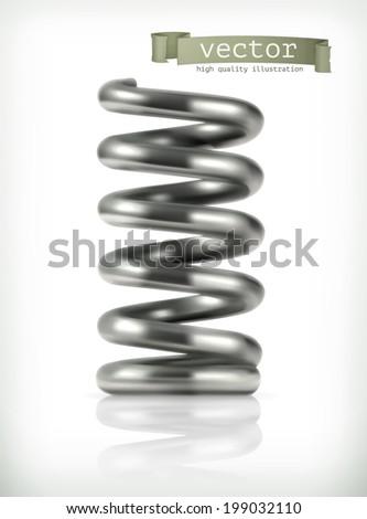 Elastic metal spring, vector icon - stock vector