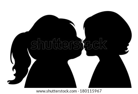 elder sister kissing younger sister