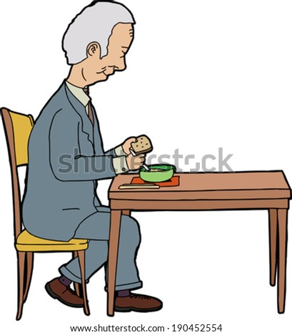 Elderly businessman sitting at table with food - stock vector