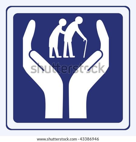 elderly care vector - stock vector