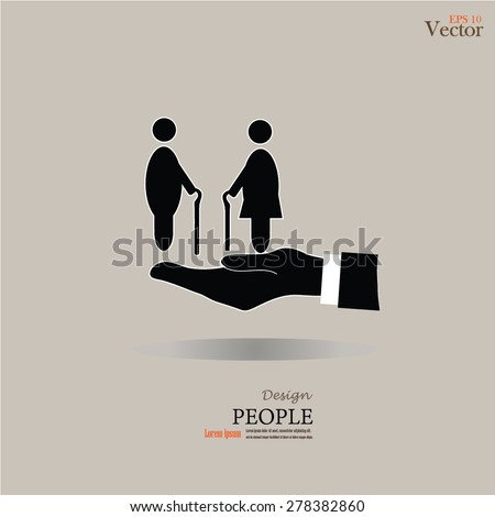 elderly care vector.hand with old man.vector illustration. - stock vector