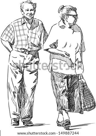 elderly couple - stock vector