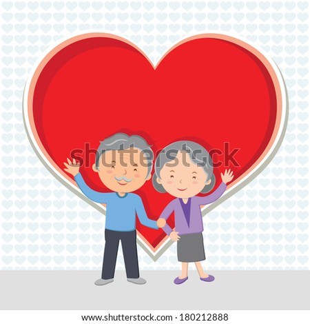 Elderly couple Love. Cheerful senior couple gesturing with red heart. - stock vector