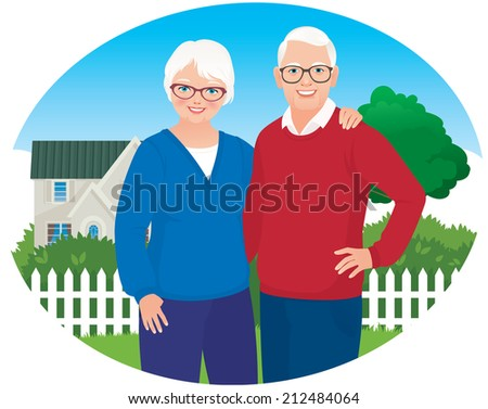 Elderly husband and wife are each other's arms on the background of your own home/Elderly husband and wife are in their household/Illustration of a loving elderly couple smiling cheerfully - stock vector
