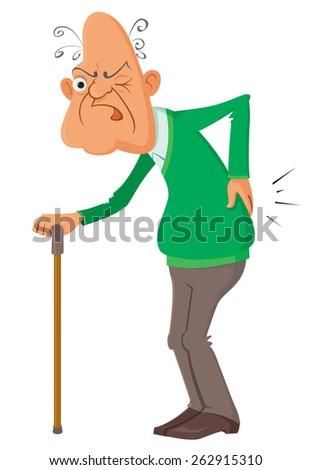 elderly man suffering from a  pain, vector illustration - stock vector