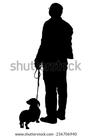 Elderly man with a dog on a white background - stock vector