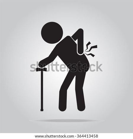 Elderly Man with cane and injury of the back, pain vector icon - stock vector