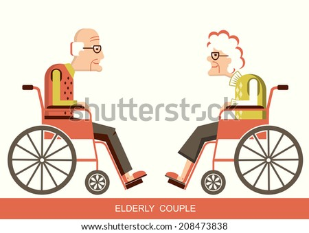 Elderly people in wheelchairs.Vector pensioners isolated for design - stock vector
