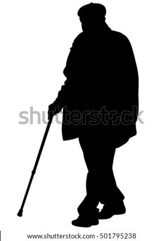 Elderly people with cane on white background