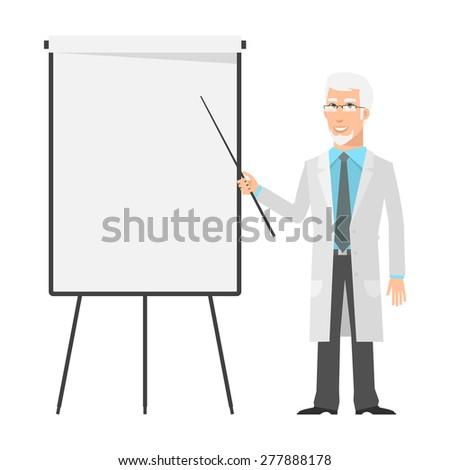 Elderly scientist points to flip chart - stock vector