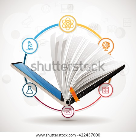 Elearning concept - online learning system - knowledge growth - information concept - stock vector