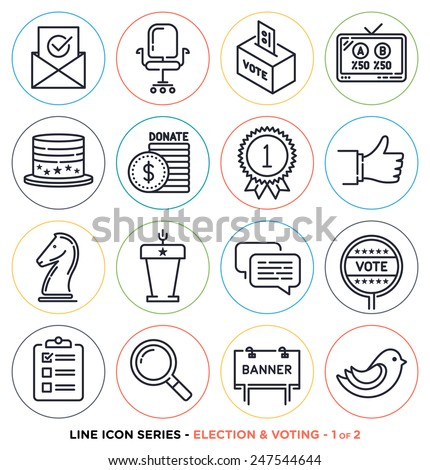 Election and voting line icons set. Vector collection of election day symbols. - stock vector