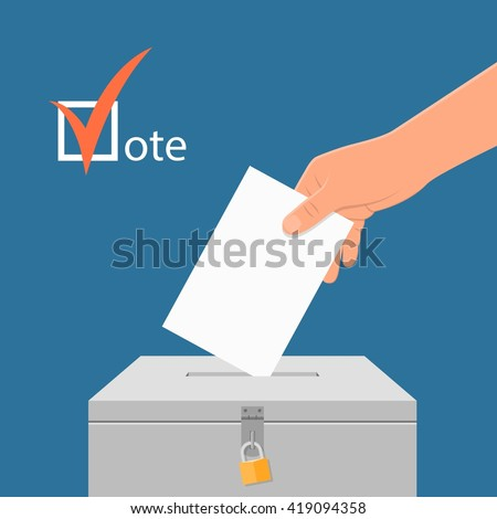 Election day concept vector illustration. Hand putting voting paper in the ballot box. Voting concept in flat style. - stock vector