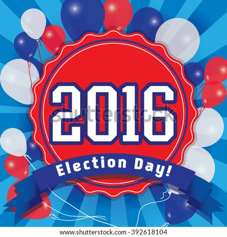 Election Day Pop Art Vector Illustration. 2016 Vote for America. - stock vector