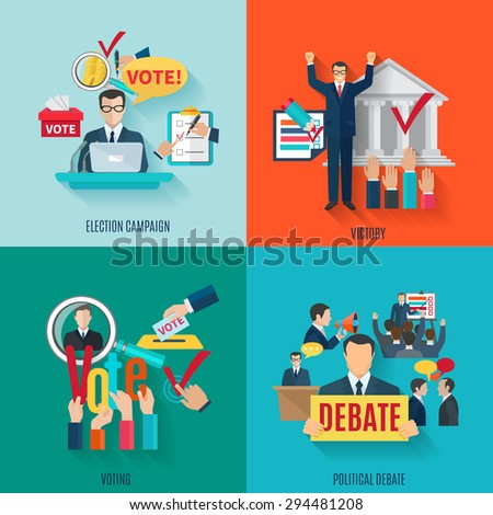 Election design concept set with voting and political debate flat icons isolated vector illustration - stock vector
