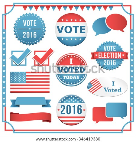 Election Element Set - Set of voting and election elements and icons.  Colors are global.  All elements are separate, and text can be removed easily.    - stock vector