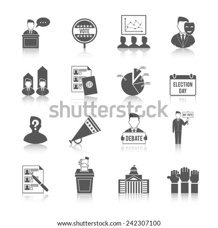 Election government politics democratic voting process icon set isolated vector illustration - stock vector
