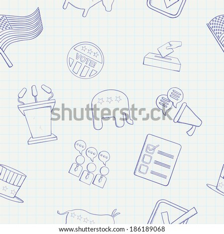 Election hand drawn vector seamless pattern - stock vector