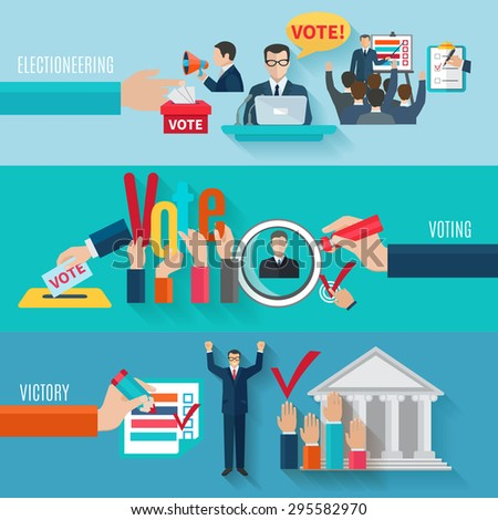 Election horizontal banners set with flat voting elements isolated vector illustration - stock vector