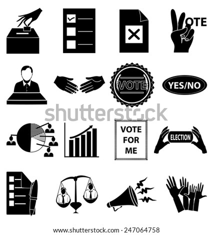Election icons set - stock vector