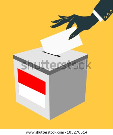 Election in indonesia: ballot box with voicing paper - stock vector