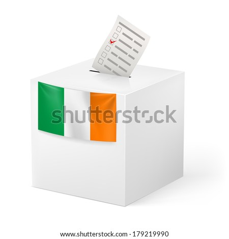 Election in Ireland: ballot box with voting paper on white background - stock vector