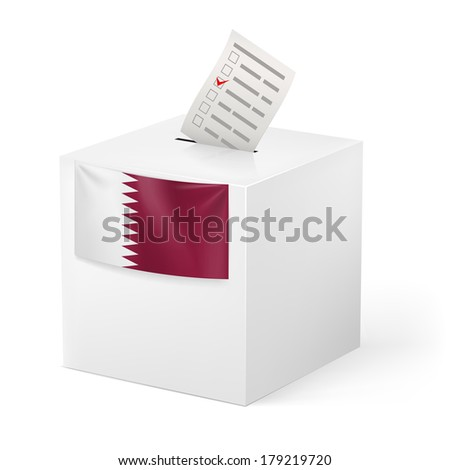 Election in Qatar: ballot box with voting paper on white background