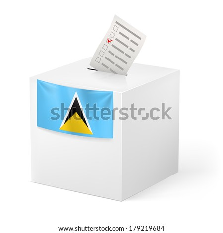 Election in Saint Lucia: ballot box with voting paper isolated on white background