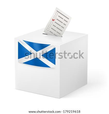 Election in Scotland: ballot box with voting paper on white background - stock vector