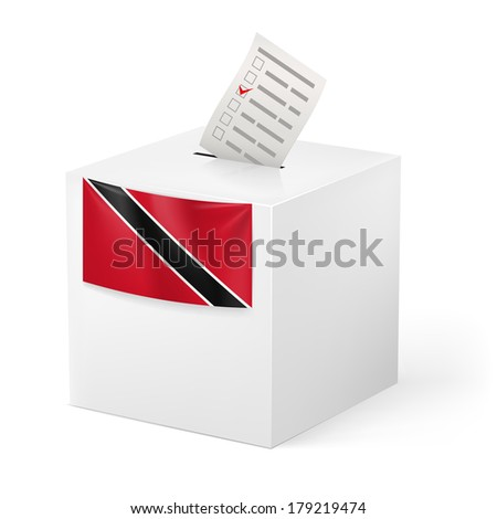 Election in Trinidad and Tobago: ballot box with voting paper isolated on white background